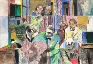 """Scared People: Light mixed media on paper towel and canvas,  99cm x 140cm ref. a scene from the movie """"The Lady Vanishes"""""""