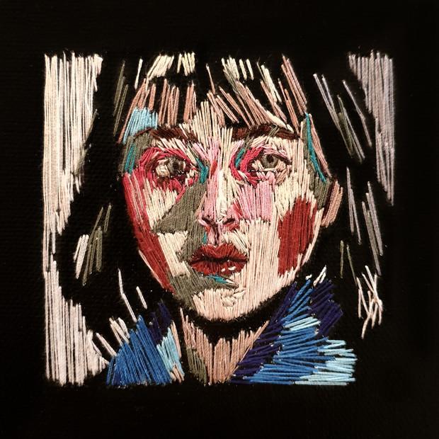 🔴 Self-Portrait embroidery on canvas, 10cm x 10cm