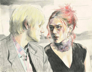 Joel and Clementine of Eternal Sunshine of the Spotless Mind color pencil on paper