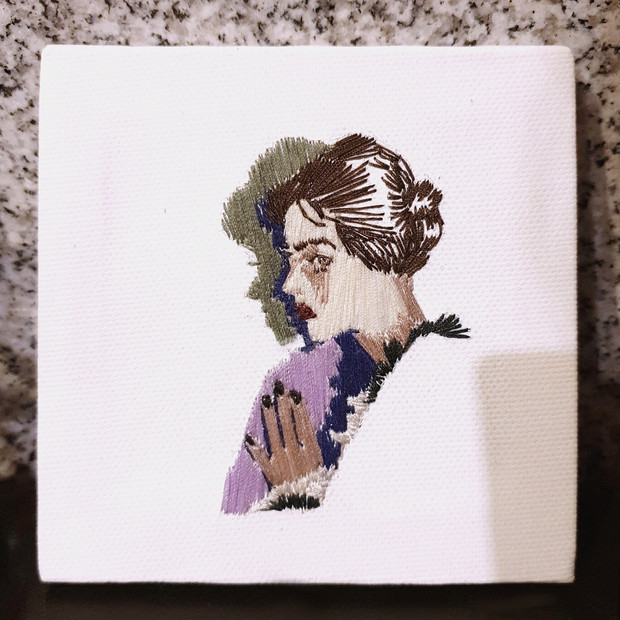 embroidery on canvas, 10cm x 10cm