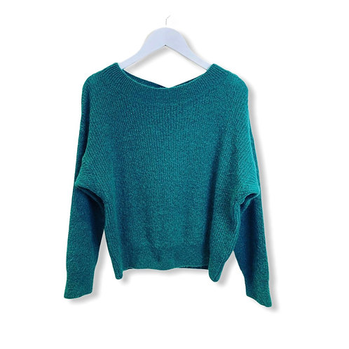 MILA BOATNECK KNITTED SWEATER LUSH GREEN