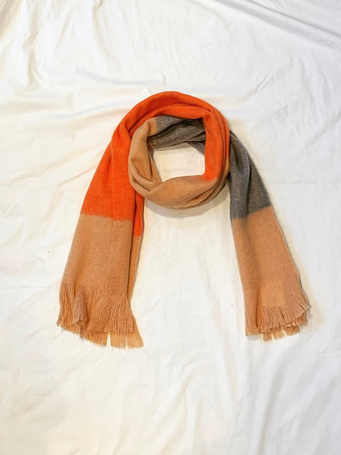 ELLA SCARF PEACH/ORANGE/GREY