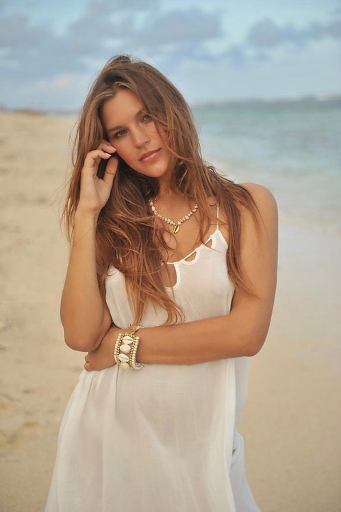 INDY NECKLACE GOLDEN SHELL SHORT IVORY