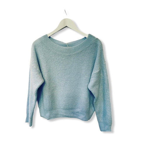 MILA BOATNECK KNITTED SWEATER BABY BLUE