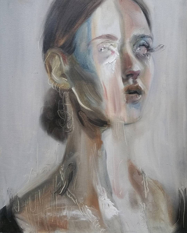 🔴 Untitled oil on canvas panel, 30cm x 24cm