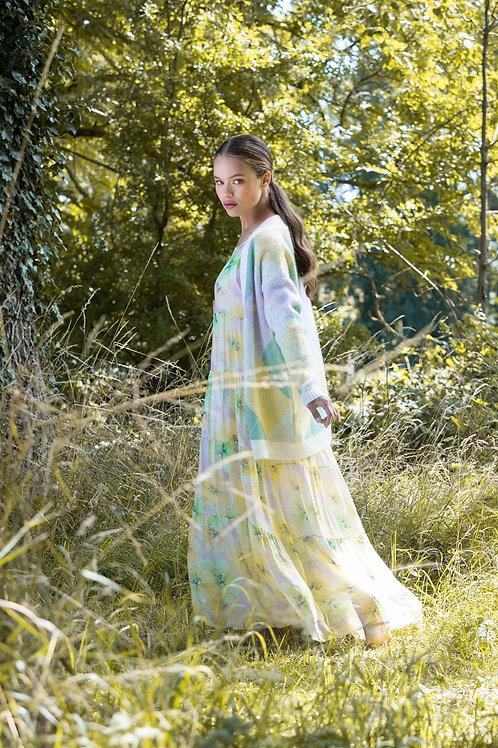 FLOWER SILK MAXI DRESS YELLOW