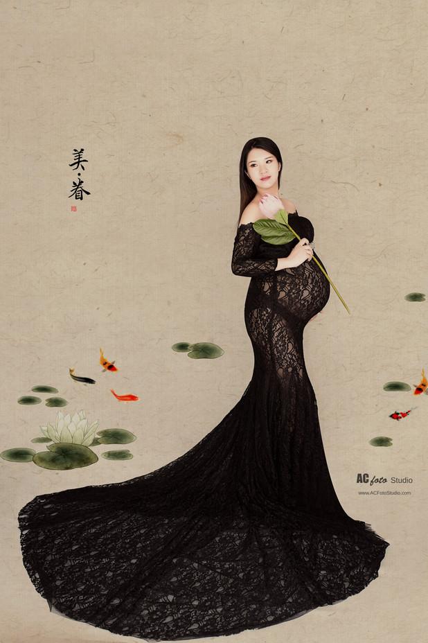 澳大利亚布里斯班黄金海岸中国风工笔画写真孕妇照大肚照旗袍复古传统照相民国风