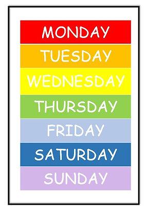 Rainbow Days of the Week Print
