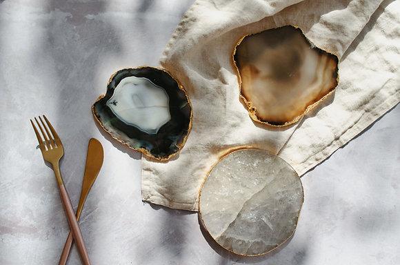 Set of 2: Black Natural Quartz Agate Coasters