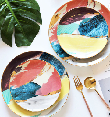 Yellow Abstract Plate Gift Set