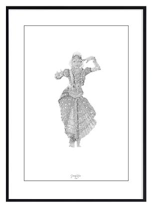 B&W Bharatanatyam Print