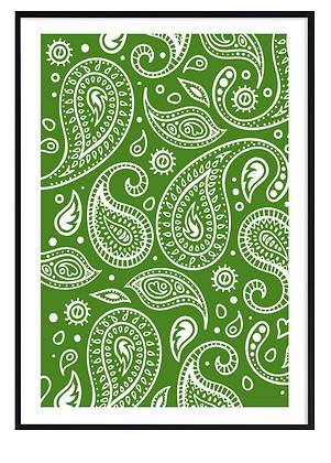 Green Paisley Print