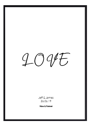 Personalised modern LOVE poster