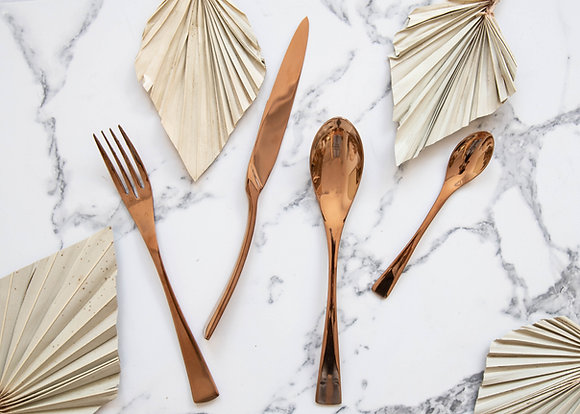 Set of 4: Rose Gold Serving Cutlery