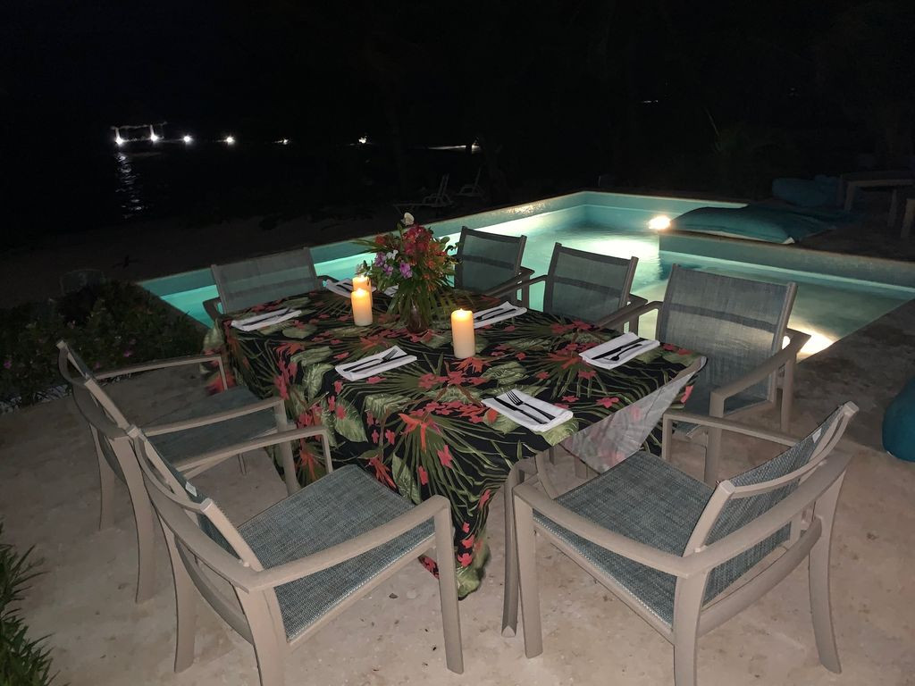 Dinner Facing the Ocean on the Patio