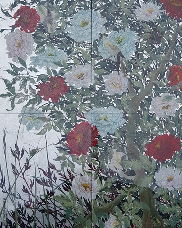 Décor fixé sous verre en peinture inversée - Un palais en Sicile