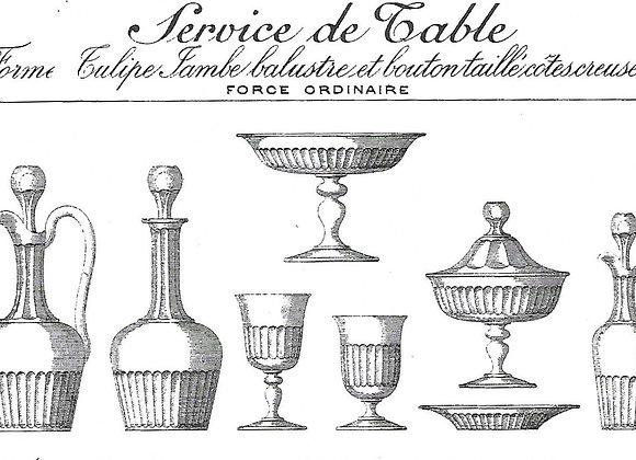 Forme tulipe jambe balustre et bouton taillé cotes creuses, cat. Baccarat 1897