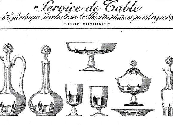 Service forme cylindre, jambe basse, taillé cotes plates et jeux d'orgues