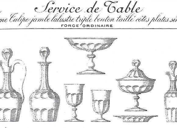 "Forme ""tulipe jambe balustre triple bouton taillé cotes plates"" Baccarat 1897"