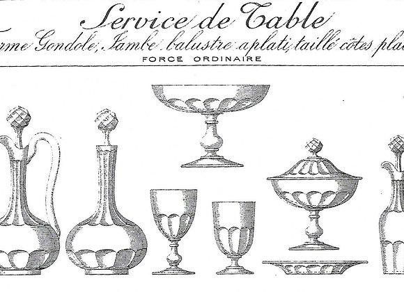 "Forme""Gondole jambe balustre aplati, taillé cotes plates"" cat Baccarat 1897"