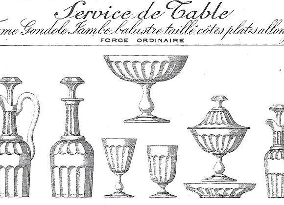 """Forme """"Gondole jambe balustre taillé cote plates allongées"""" cat Baccarat 1897"""