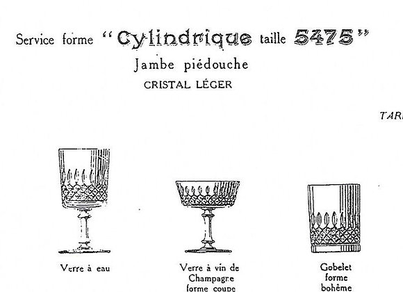 """forme """"Cylindrique taille 5475"""" catalogue Baccarat 1916"""
