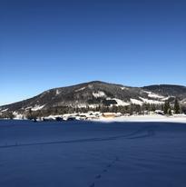 Blick zum Hof im Winter