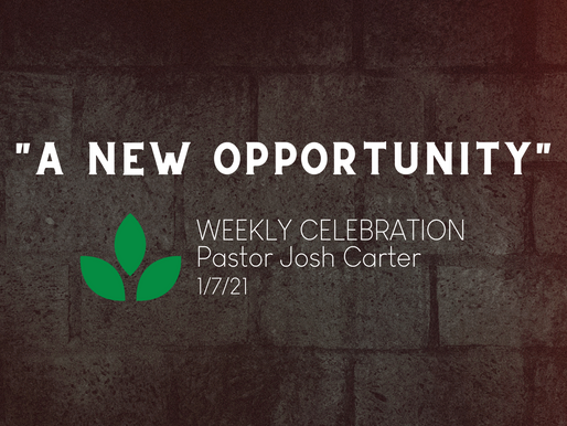 A New Opportunity - Weekly Celebration (Jan. 7)