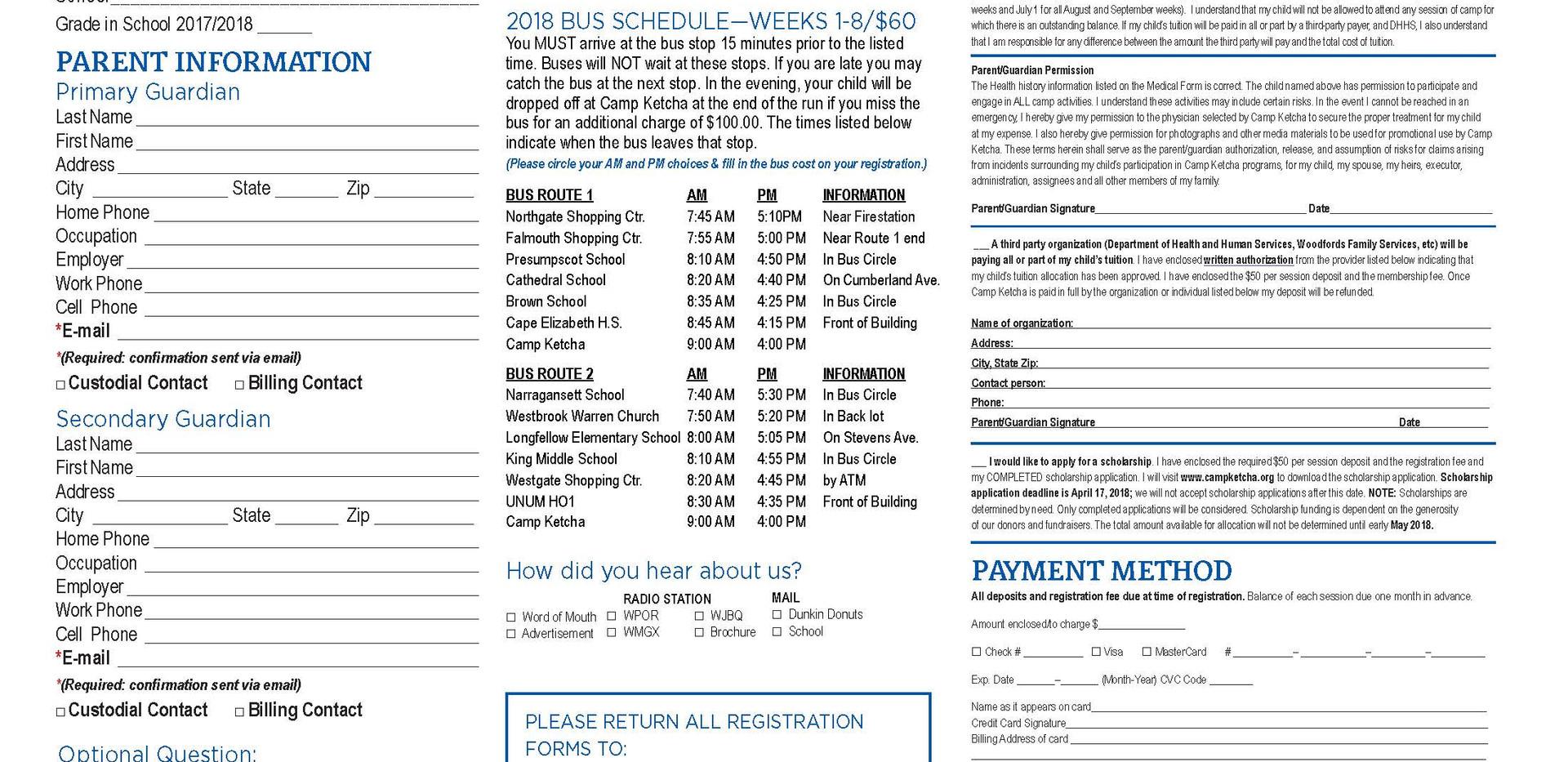 2018 Registartion for Camp Ketcha