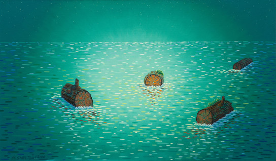 Four Logs and Green Sea