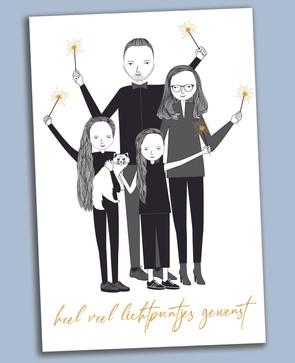 nieuwjaarskaartje met familieportret