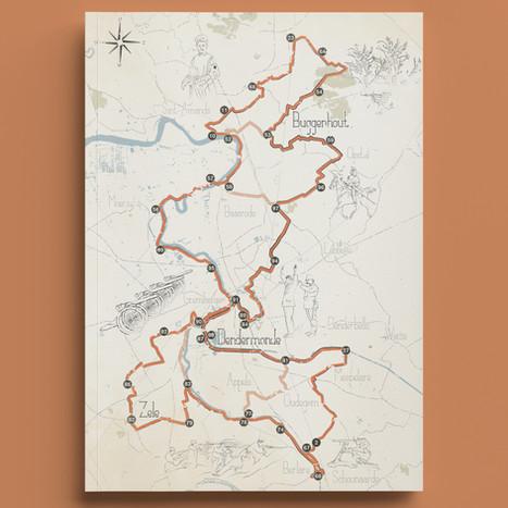 Kaart voor een fiets- en wandelbrochure naar aanleiding van de herdenking '100 jaar groote oorlog' voor Toerisme Scheldeland