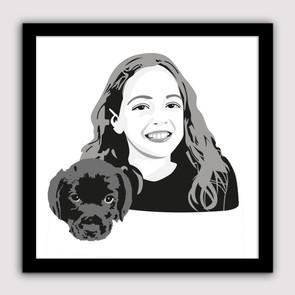 Illustratie voor mijn jarige nichtje met haar nieuwe puppy