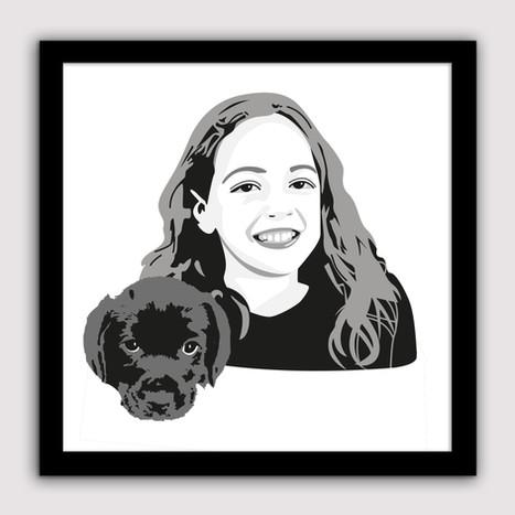Illustratie voor mijn nichtje en met haar nieuwe puppy