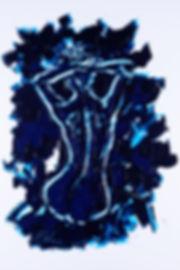 3 graces - 2 - blue line, Anna Wode, art, Kunst