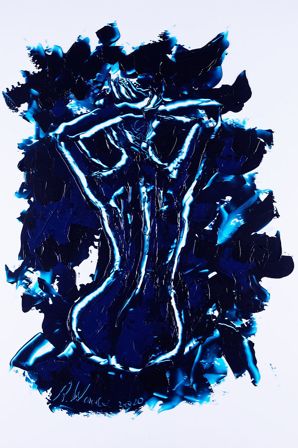 3 graces - 2 - blue line, Anna Wode, art, Kunst