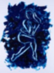 3 graces - 1 blue line, Anna Wode, art, Kunst