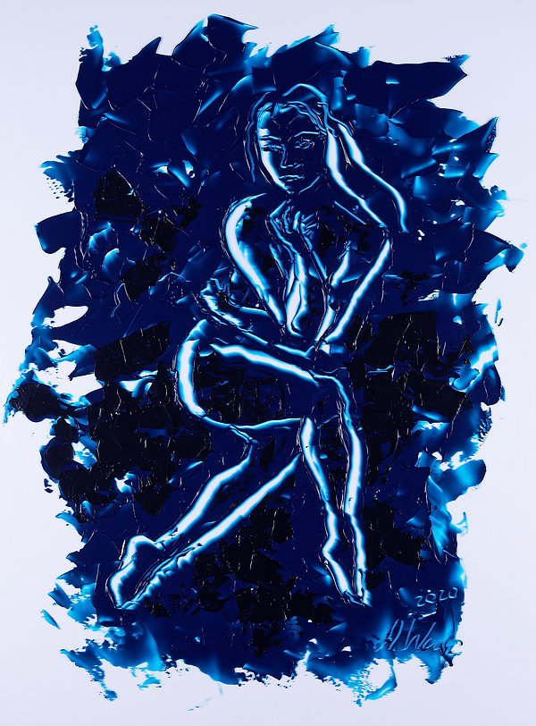 3 graces - 1 blue line, Anna Wode, art, Kunst