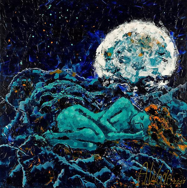 Anna Wode, peinture, painting, bonne nuit, pleine Lune