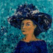 Dame au chapeau, Anna Wode, mixte line, blue line, art, contemporary
