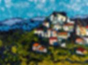 Anna Wode, painting, peinture, Bild, village, mixte line