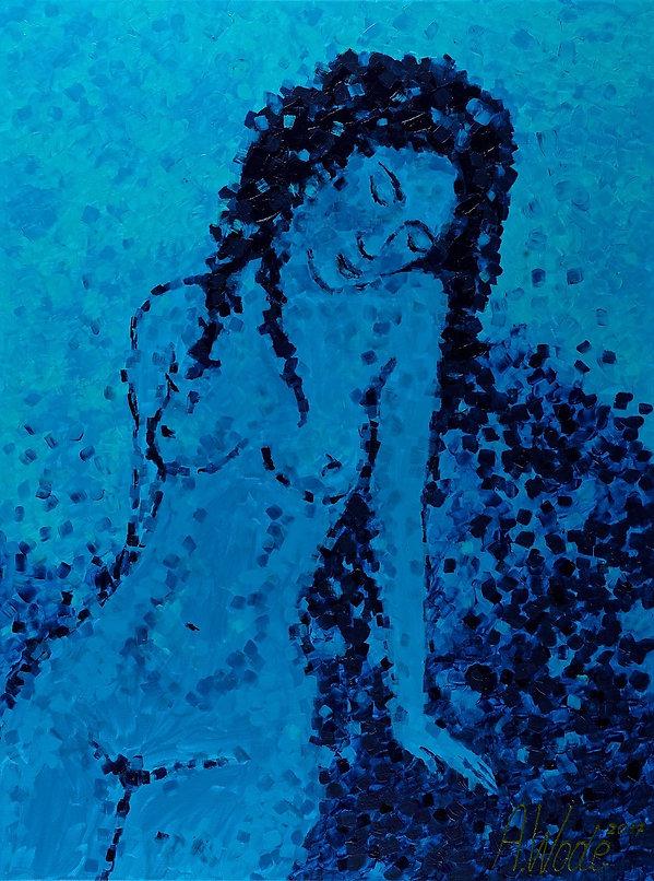 Anna Wode, painting, peintre, Bild, Blue Line, Frau, Sittin Nude