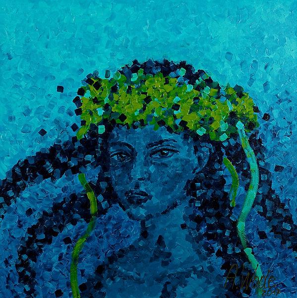 Anna Wode peinture painting art fille à la couronne des fleurs