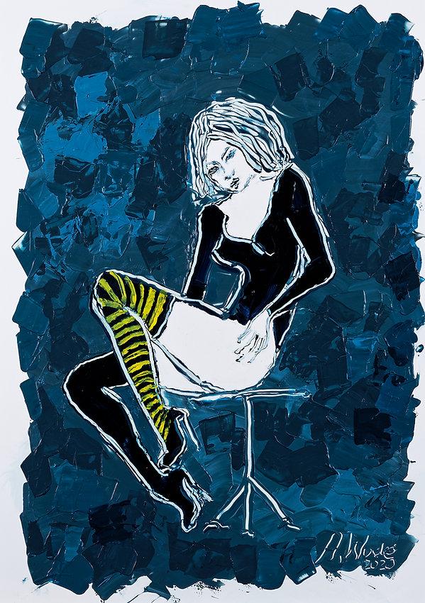 Guêpe, Anna Wode, art, Kunst, blue line, blue