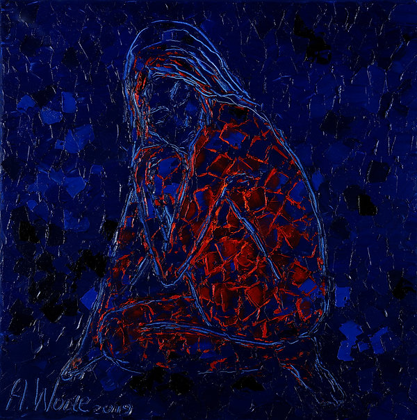Mots bleus, Anna Wode, art, contemporary, blue line, Kunst, contemporain