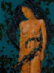 Anna Wode, painting, peinture, Bild, Sorrow, mixte line, nude