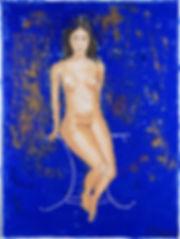 Sitting nude - bleu, Anna Wode, art, Kunst