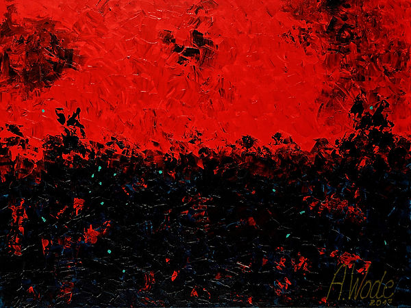 Lucioles, Anna Wode, peinture painting, rouge, red