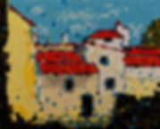 Anna Wode, painting, peinture, Bild, mixte line, Village portugais