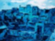 Toits de Barcelone, inspiration Picasso, Anna Wode, art, Kunst, blue, blue line